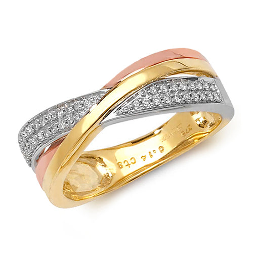 0.14ct Diamond Ring in 9K Yellow, White and Rose Gold