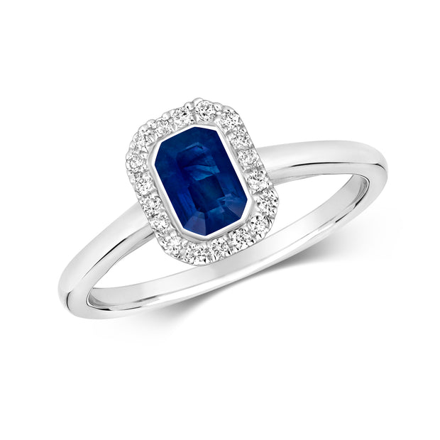 0.68ct Sapphire  & 0.11ct  Diamond Ring in 9K Gold