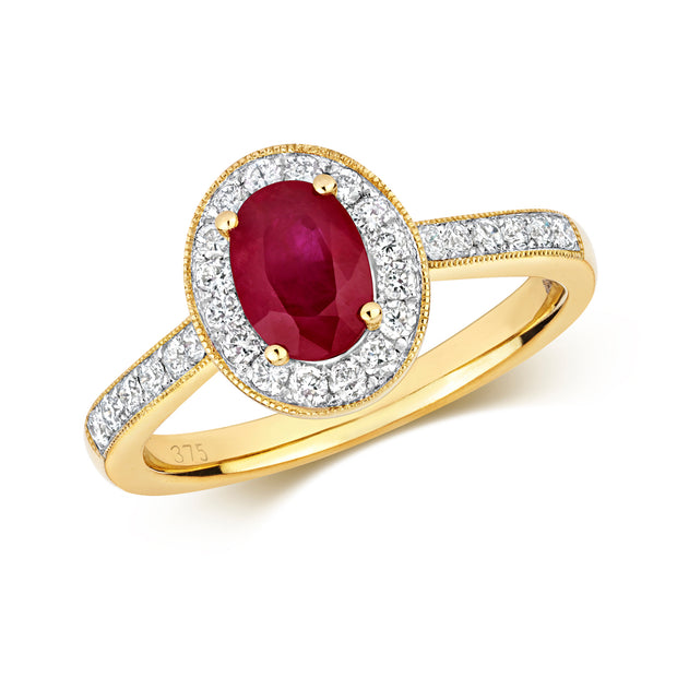 0.95ct Ruby Ring in 9K Gold