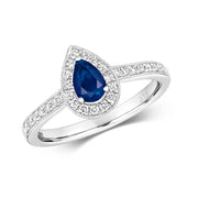 0.48ct Sapphire  & 0.26ct  Diamond Ring in 9K Gold