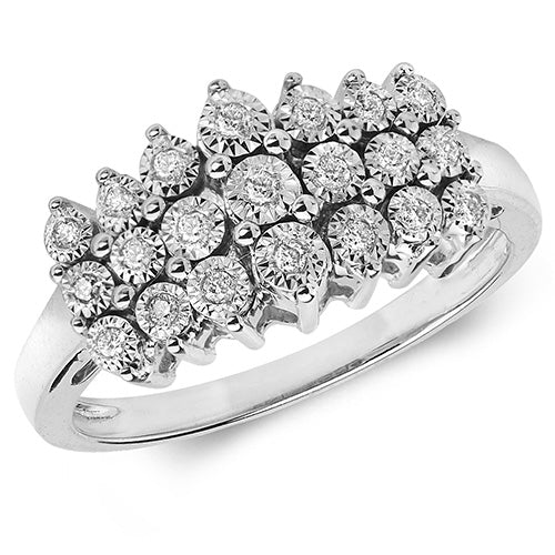 0.11ct Diamond Ring in 9K White Gold