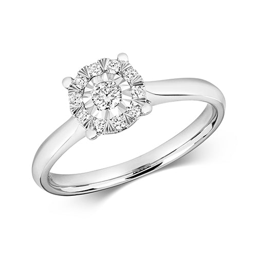 0.19ct Diamond Ring in 9K White Gold