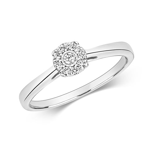 Diamond Ring in 9K White Gold