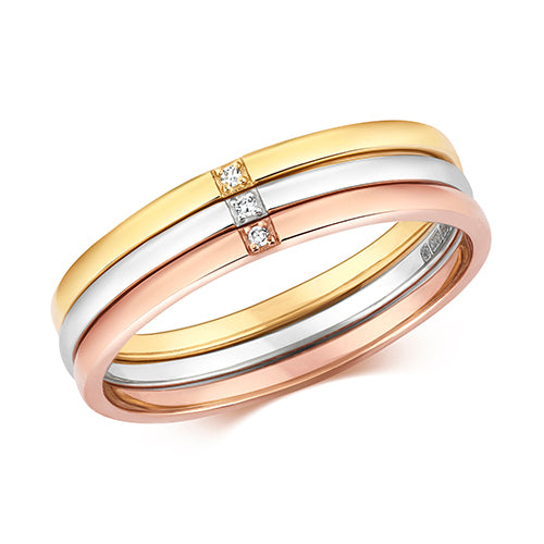 0.01ct Diamond Ring in 9K Yellow, White and Rose Gold