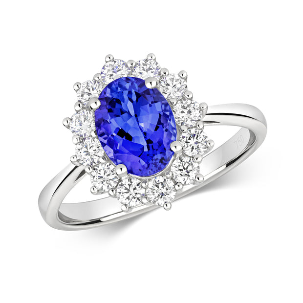 Tanzanite and Diamond Ring in 18K White Gold