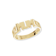 9K Yellow Gold Ladies' Curb Sides Mum Ring