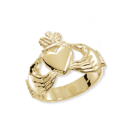 9K Yellow Gold Men's Claddagh Ring