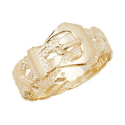 9K Yellow Gold Men's Plaited Buckle Ring