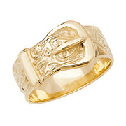 9K Yellow Gold Men's Engraved Buckle Ring