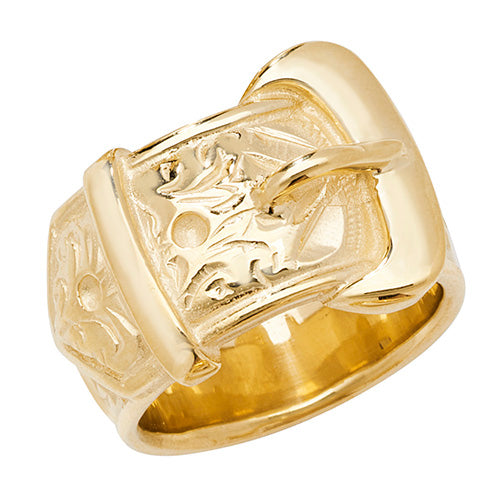 9K Yellow Gold Men's Buckle Ring