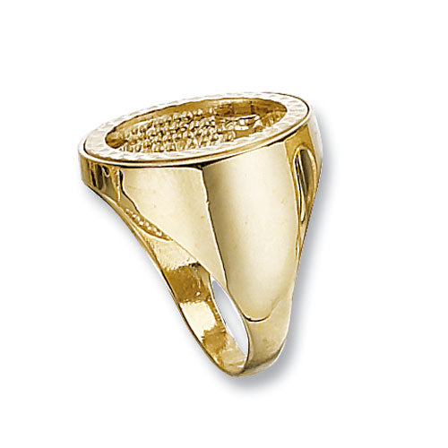 9K Yellow Gold Half Sov Plain Sides Coin Mount Ring