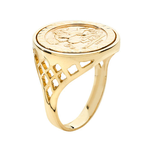 9K Yellow Gold One Quarter Sovereign Pattern Basket Side Ring