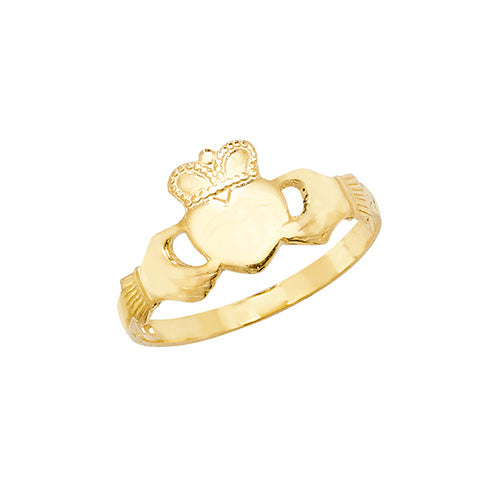 9K Yellow Gold Maidens' Claddagh Ring