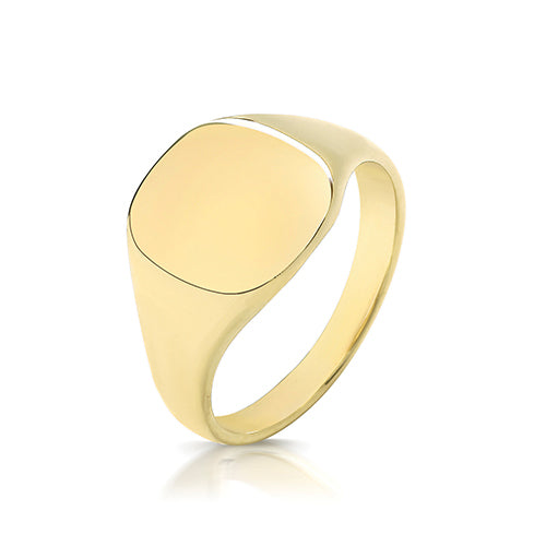 9K Yellow Gold 12 X 11mm Light Weight Cush Signet Ring