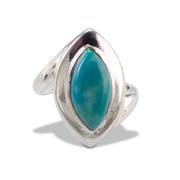 Tibetan Turquoise Ring in Sterl.Silver 5ct