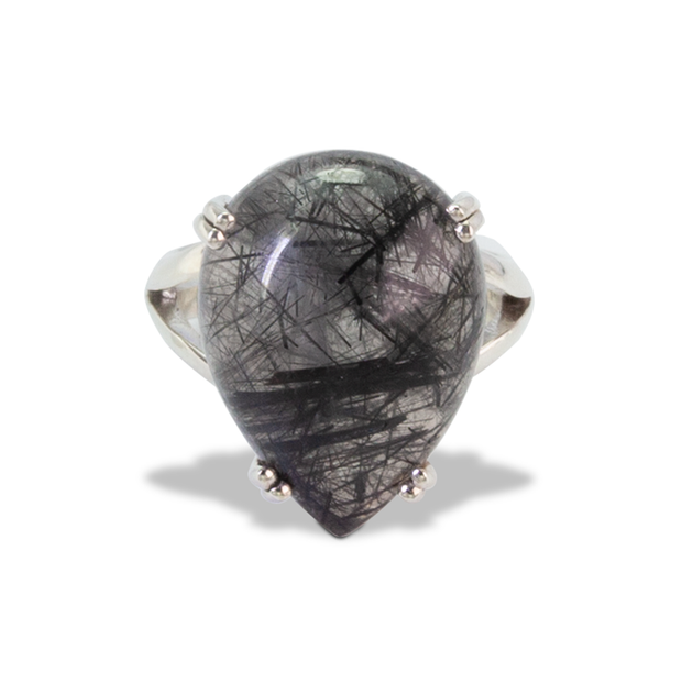 Tourmalinated Quartz Ring in Sterl.Silver 15.5ct