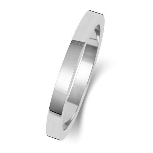 18K White Gold Wedding Ring Flat 2mm