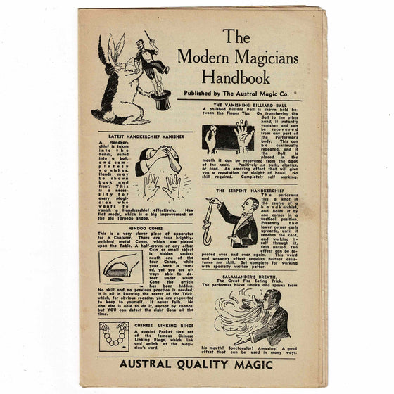 The Modern Magician's Handbook - 20 pages Austral Quality Magic W.E. Savage Sydney
