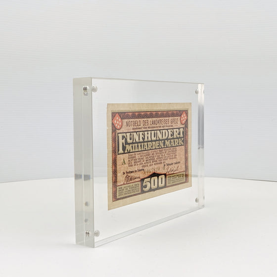 Framed 500 Million Marks - 1923 German Hyperinflation note