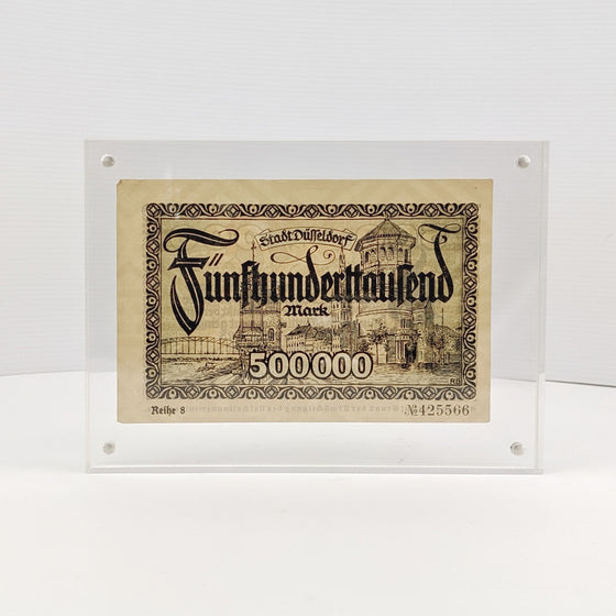 Framed 500 Million Marks -  Aug 1923 German Hyperinflation note