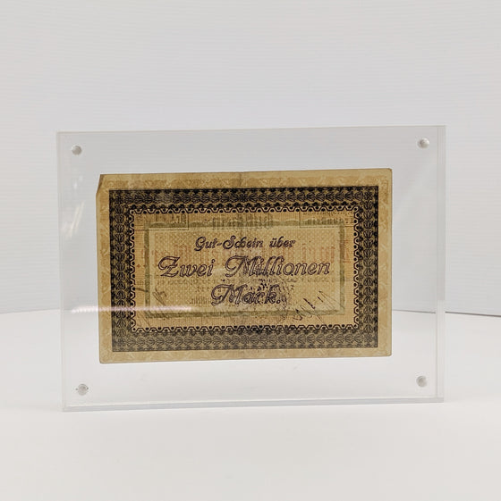 Framed 20 Million Marks -  Aug 1923 German Hyperinflation note