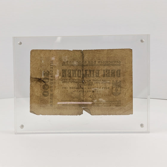Framed 3 Billion Marks -  Oct 1923 German Hyperinflation note