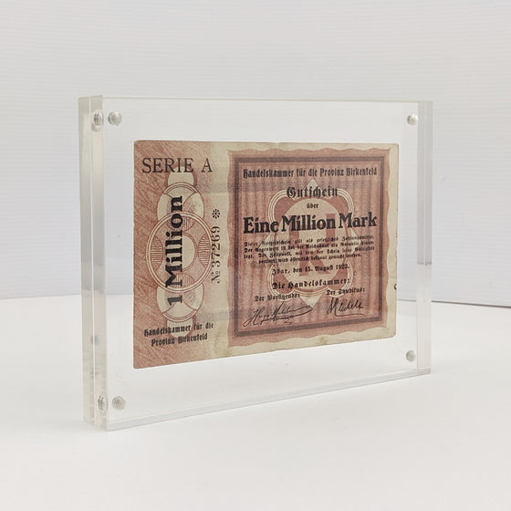 Framed 1 Million Marks -  Aug 1923 German Hyperinflation note