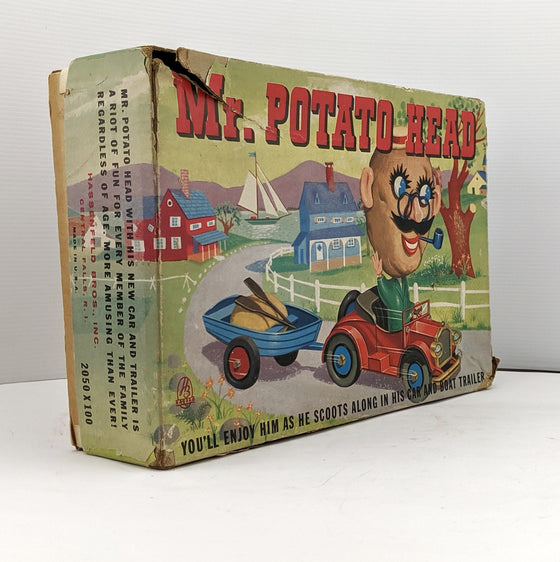 Mr Potato Head with car and boat trailer. 1960. Hassenfeld Bros, Central Falls.