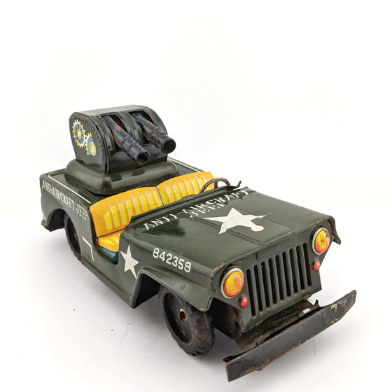 Anti Aircraft Jeep tin toy c1960 by Toymaster Japan