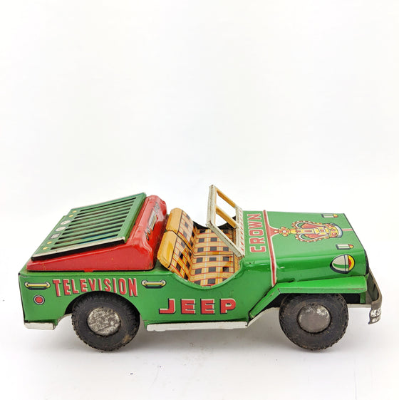 Crown Television Jeep tin toy by Usagiya Japan c 1969