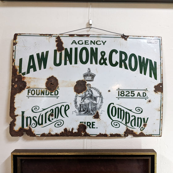 Law Union & Crown Enamel Sign c 1908