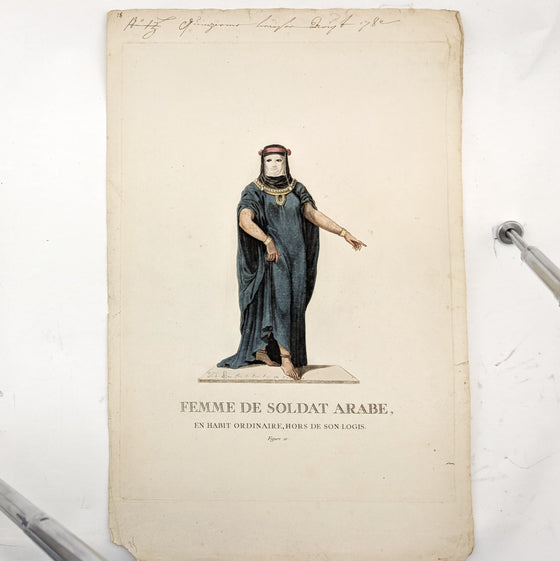 Female Arab Soldier - Hand coloured print