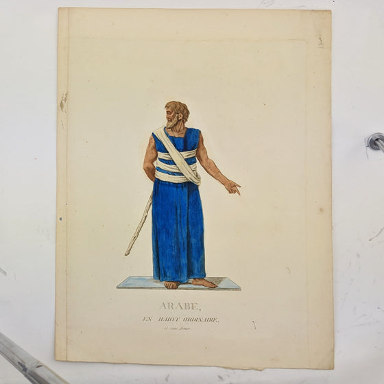 Arab in standard garb - Hand coloured print