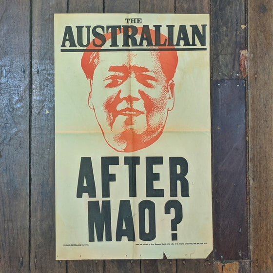 After Mao  - 1976 Newsagents Bill Poster