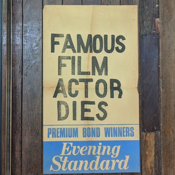 Film actor dies - Newsagents Bill Poster