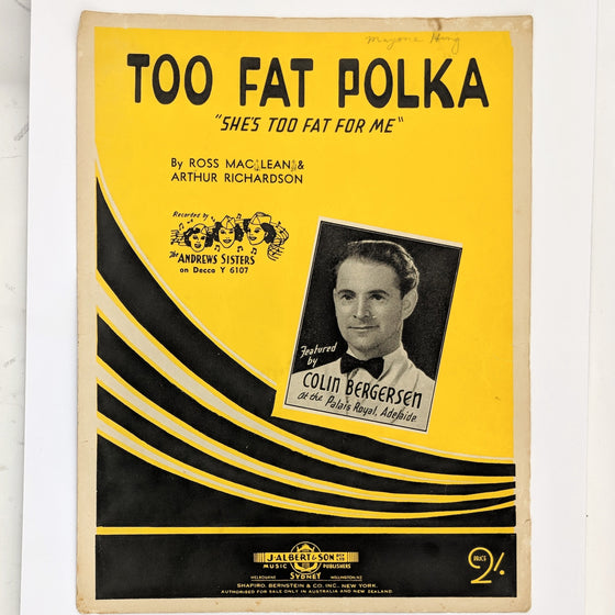 Too Fat Polka  - Sheet Music
