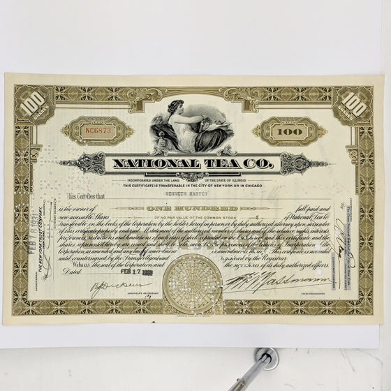 National Tea Company - Share Certificate