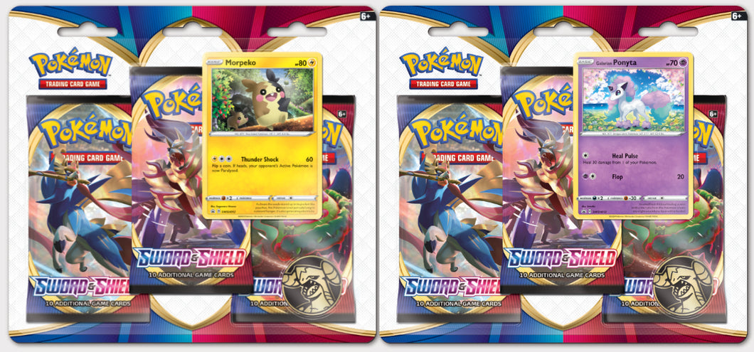 Pokémon - Sword & Shield: Base Set - 3 Pack Blister Pack, Set of 2 (Factory Sealed)