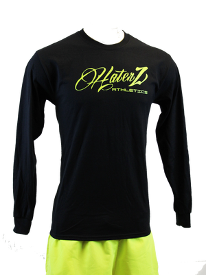 Haterz Script Long-Sleeve T-Shirt (Black/Neon Yellow)