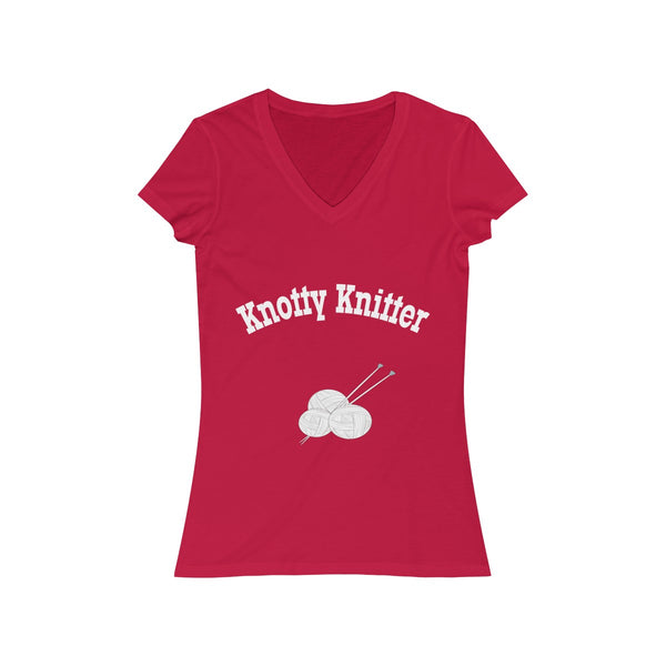 Knotty (naughty) Knitter.  Women's Jersey Short Sleeve V-Neck Tee
