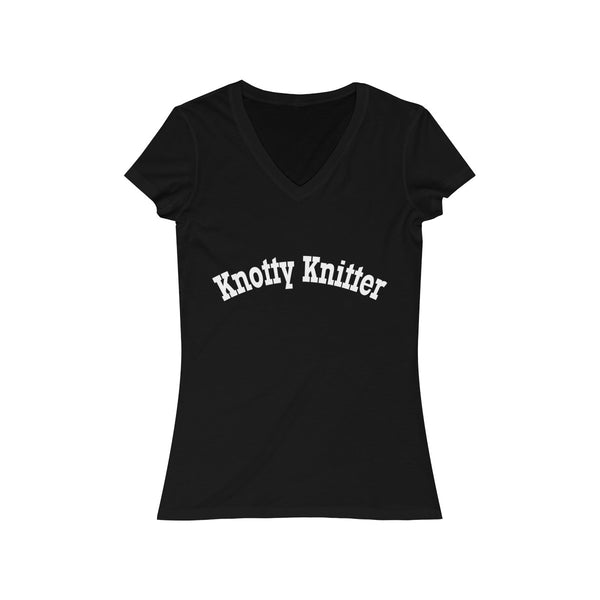 Knotty (Naughty) Knitter Women's Jersey Short Sleeve V-Neck Tee