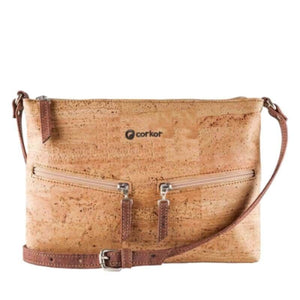 Sac à main | Crossbody en liège naturel - CORKY (4 modèles) - Marron clair / Rouge - Sac à main Cross-Body