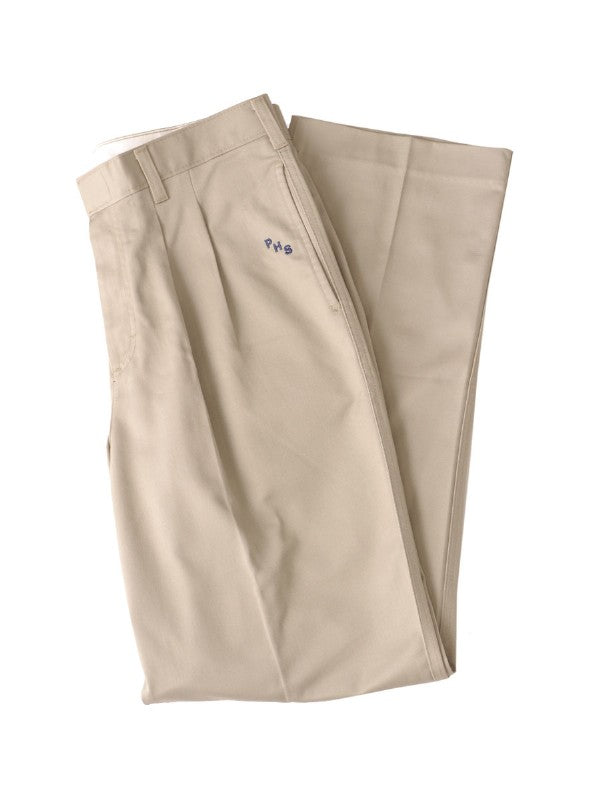 Boys Khaki Pleated Dress Pant with School Logo