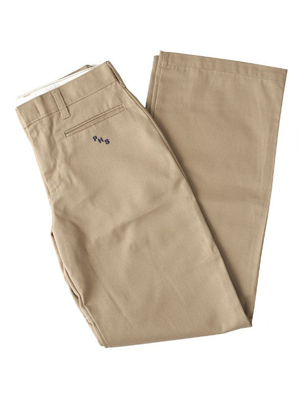 Girls Khaki Flat Front Pallotti Pant with School Logo