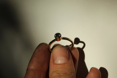 Anna's Engagement Ring. 14k gold and a London Topaz