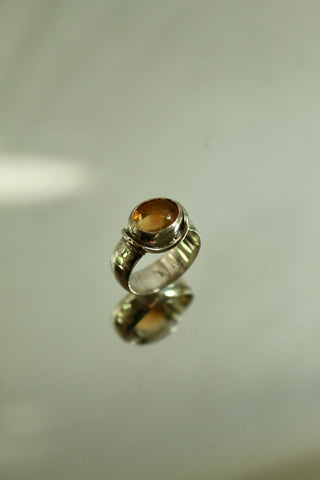 Jesse's Pinky Ring. Mexican Fire Opal and Sterling silver