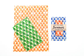 Beeswax wrap that solves your food storage needs. BeeWRAPZ™ are reusable food wraps that tightly cover the tops of cans, bowls, glasses or wrap your cut fruits and veggies keeping them fresher, longer. Another great addition to your plastic free food storage lineup.