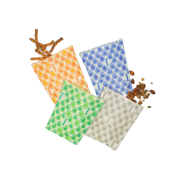 Medium Bag 4 Pack - Reusable Beeswax Food Bags