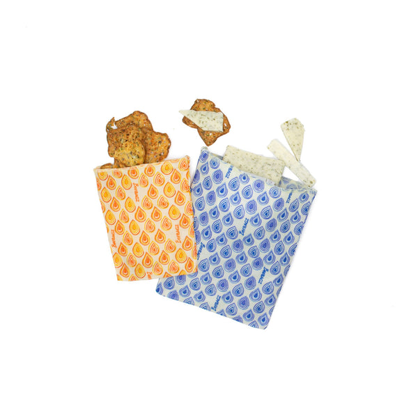 Reusable Snack Bags - Eco Friendly & Plastic Free - Beeswax Wrap Bags