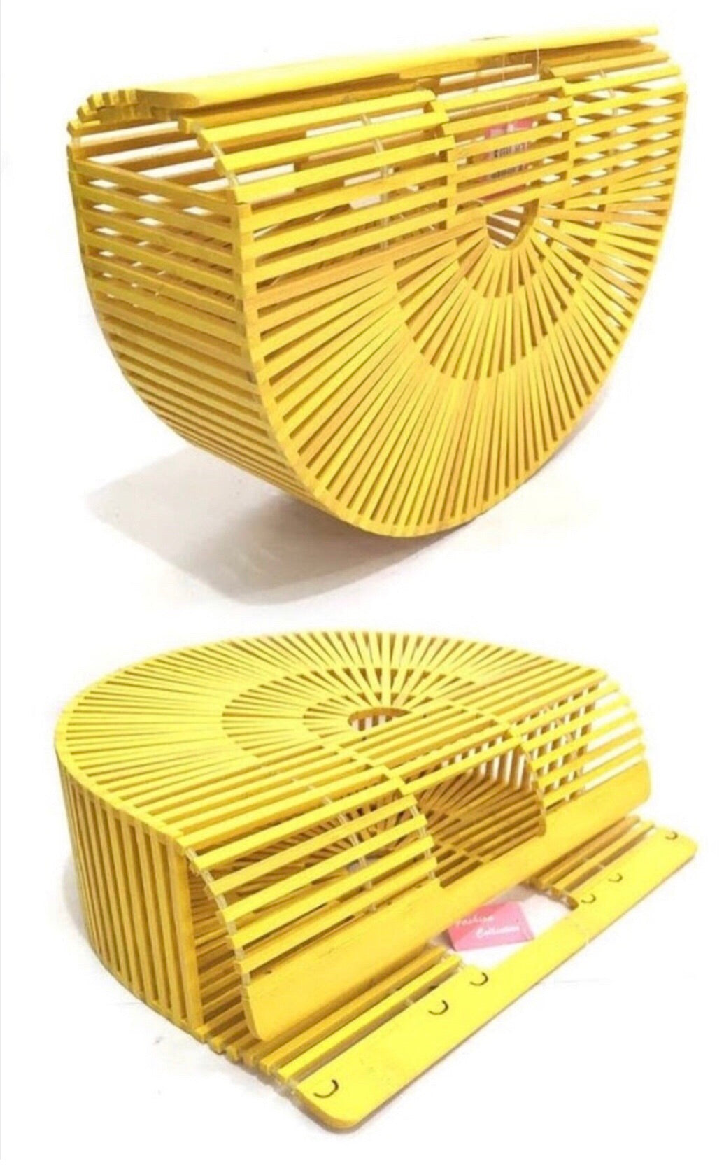 Yellow Boho Bamboo Clutch